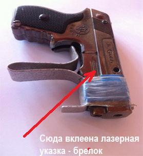 пистолетик с лазерной указкой для наработки моторики при стрельбе навскидку